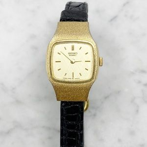 SEIKO Vintage Gold Face Black Leather Watch